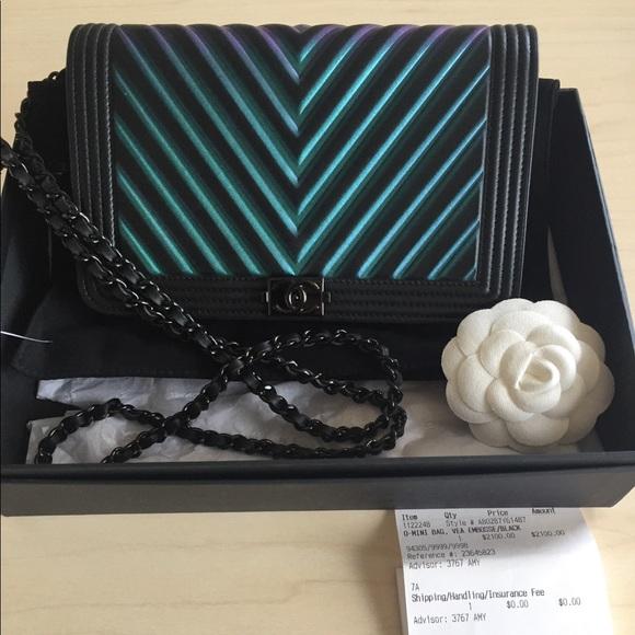 a3dc00f446e006 CHANEL Handbags - CHANEL Calfskin Chevron BOY WOC BLACK